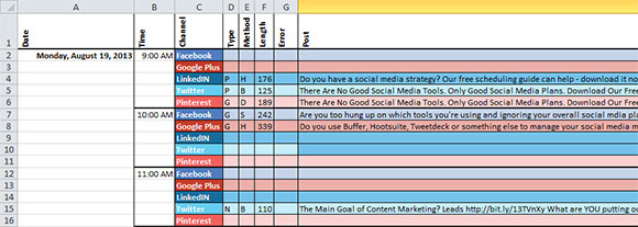 Social media marketing calendar: content section