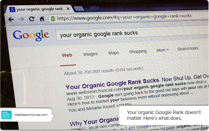 Your Organic Google Rank Sucks. Now Shut Up, Get Over It And Market Your Business.